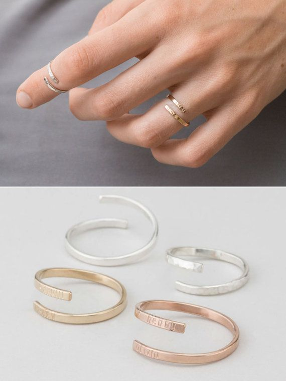 Dainty Personalized Ring Gold Silver or Rose door LayeredAndLong