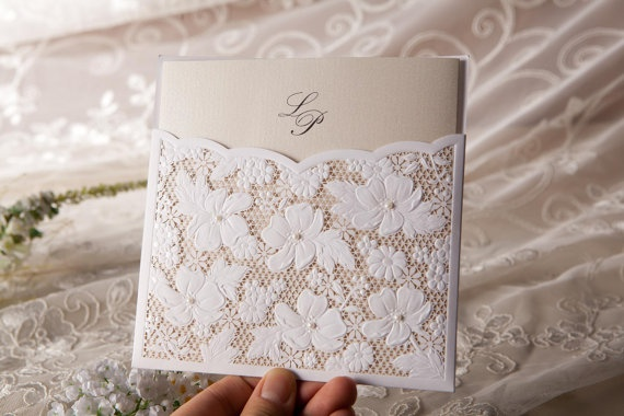 100pcs Lace Floral Wedding Invitation in White or by Littletoesmy, $145.00