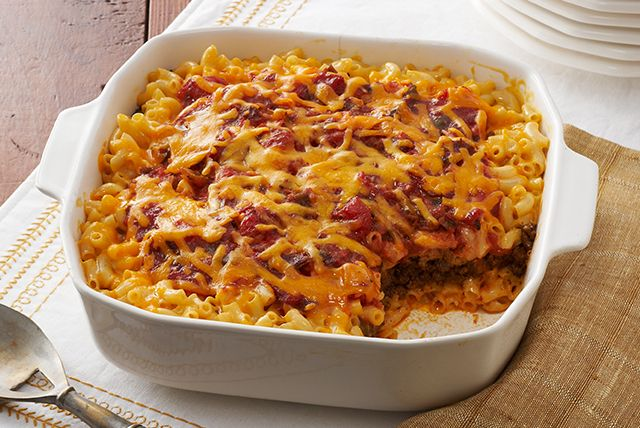 Taco Bake- add can of dark red kidney beans (drained) to meat