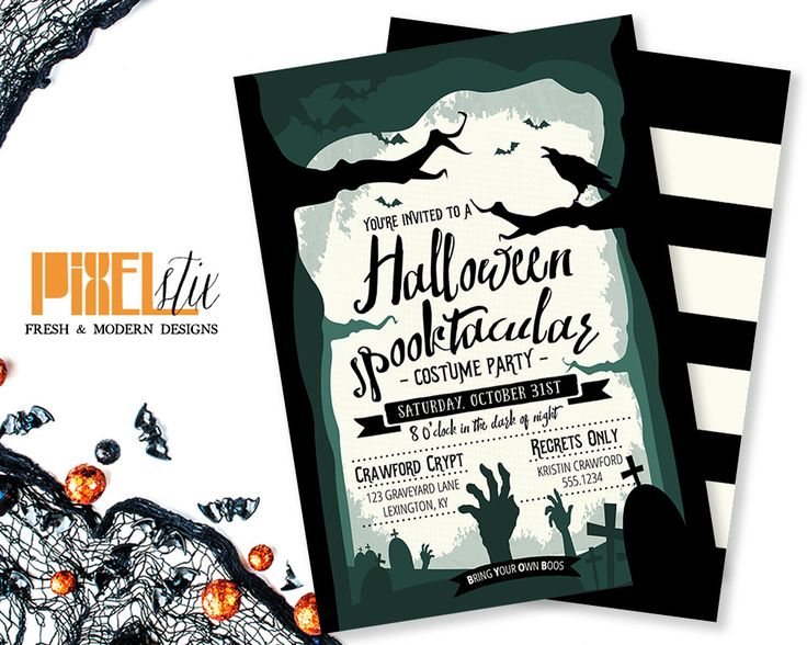 27 best PixelStix Halloween Party Invitations images on Pinterest - halloween invitation template