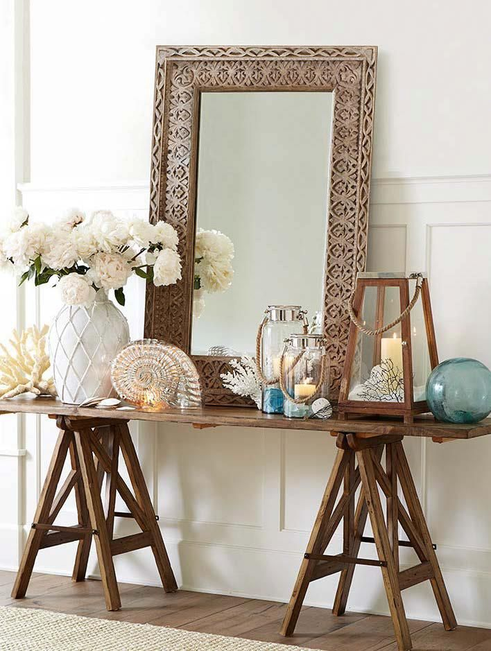 Captivating Hall Decor Ideas ~ Entryway Table And Accessories; Beautiful Coastal Feel  For The Showroom