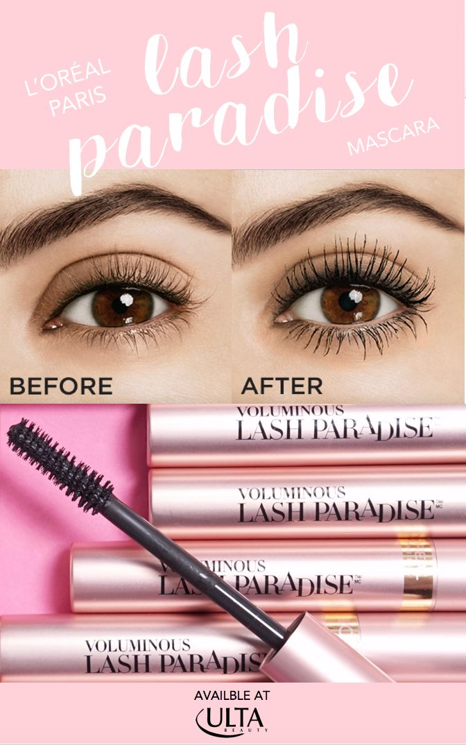 Before & after with new L'Oreal Lash Paradise mascara. Now available at Ulta and ulta.com!