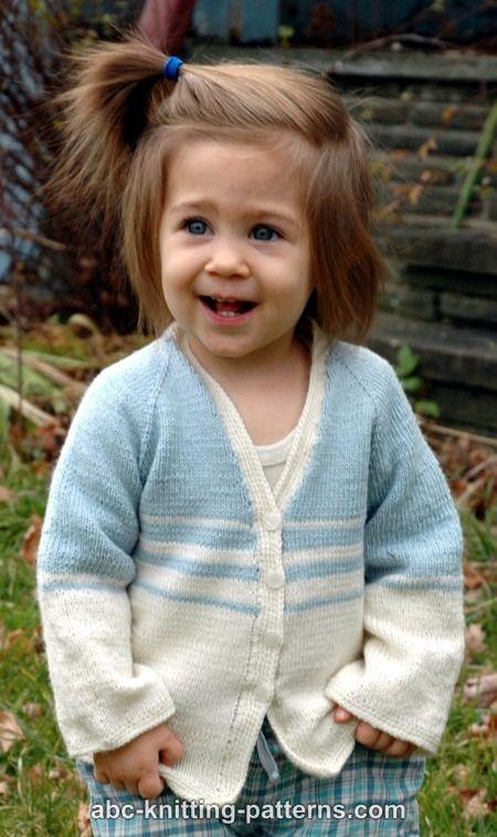 ABC Knitting Patterns - Pretty Stripes Child Cardigan