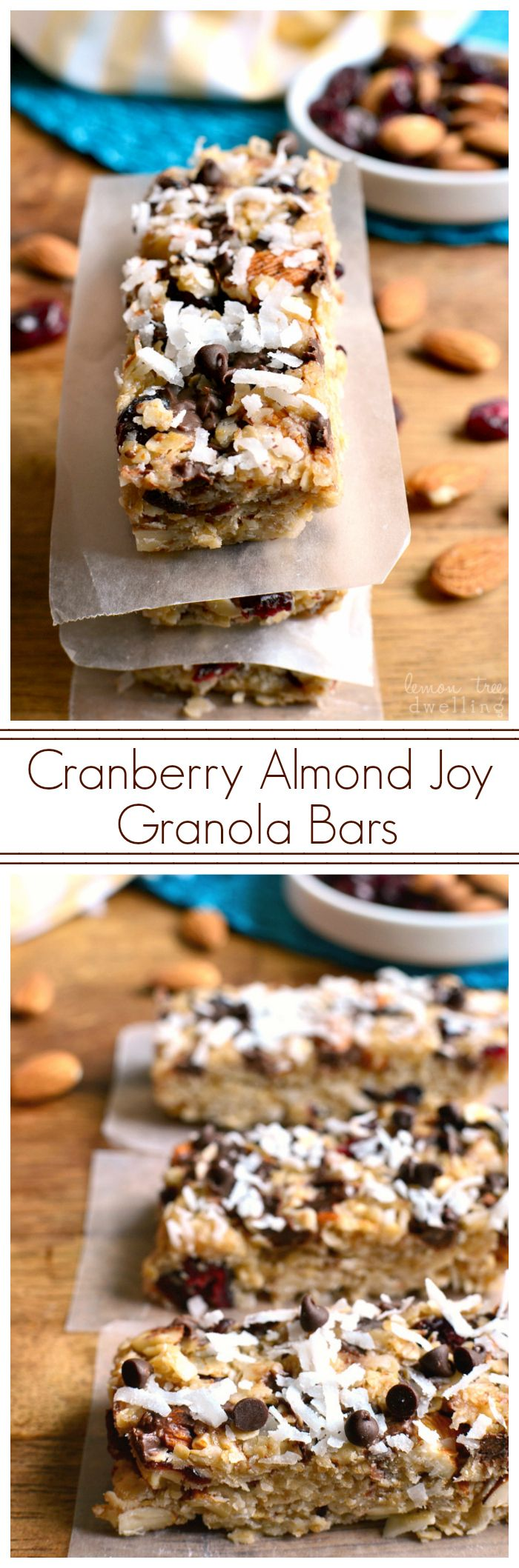 No-Bake Cranberry Almond Joy Granola Bars - sweetened with cranberries, almonds, coconut, and chocolate chips. These bars are perfect for breakfast or snack, and easy to take (and eat) on the go!