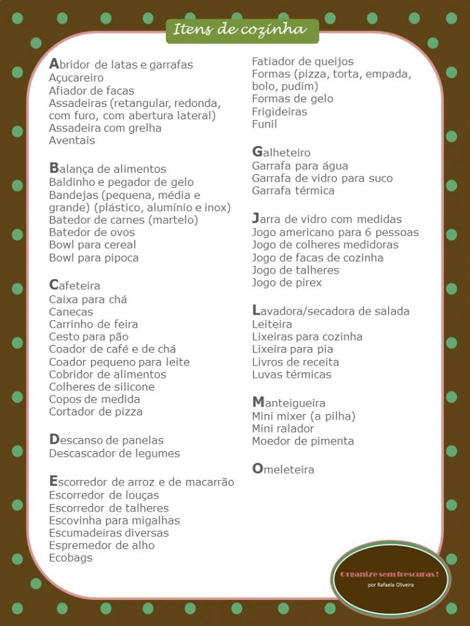 Lista de Chá de Panelas