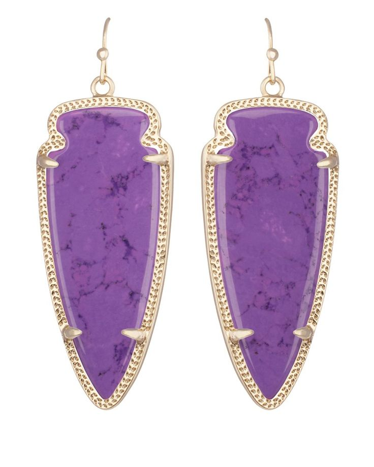 Skylar Earrings in Violet. Use code HAUTEHUES to get all violet, neon yellow & teal Kendra Scott jewelry for 15% off, starting at 4pm CST.