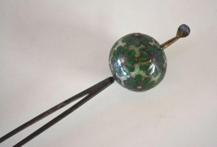 Hair pin, vintage Japanese kanzashi stick hair pin, glass bead, traditional Japanese hair ornament by StyledinJapan on Etsy
