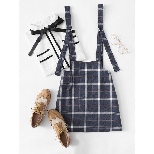 Checked Pinafore Skirt (€11) ❤ liked on Polyvore featuring skirts, multicolor, short plaid skirt, above the knee skirts, checkerboard skirt, multi colored skirt and tartan plaid skirt