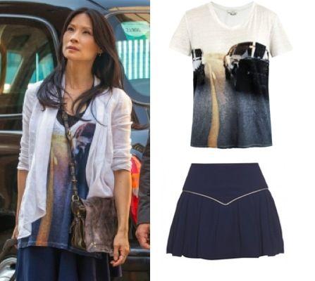 Elementary season 2, episode 1: Joan Watson's (Lucy Liu) IRO Bridger Car Print Tee and Isabel Marant blue skirt #getthelook #elementary #iro