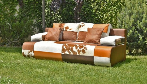 Leather sofa with cow skin