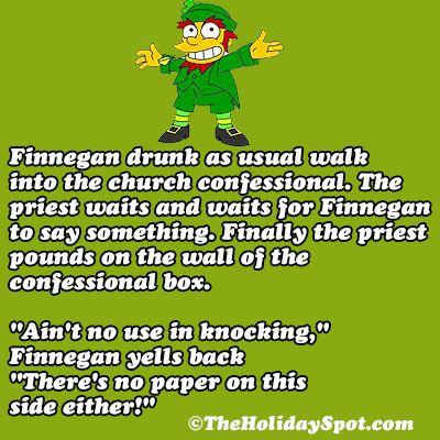 St. Patrick's Day jokes on drunk man into the church