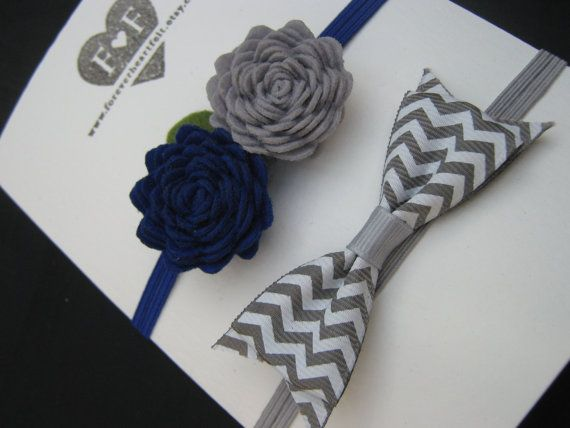 Handmade Felt Roses Hairband with Chevron Bow  by ForeverHeartFelt