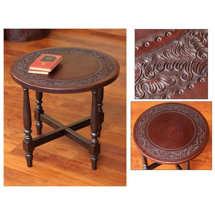 Novica Colonial Guard Artisan Handmade Hand Tooled Leather Brown Mohena Wood Home Decor Furniture Round Nightstand End Table (Peru) (Solid)