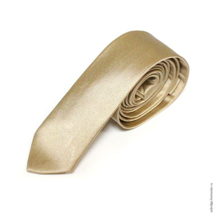 Купить Галстук классический из атласа / Галстук цвета шампанского - галстук, галстук ручной работы