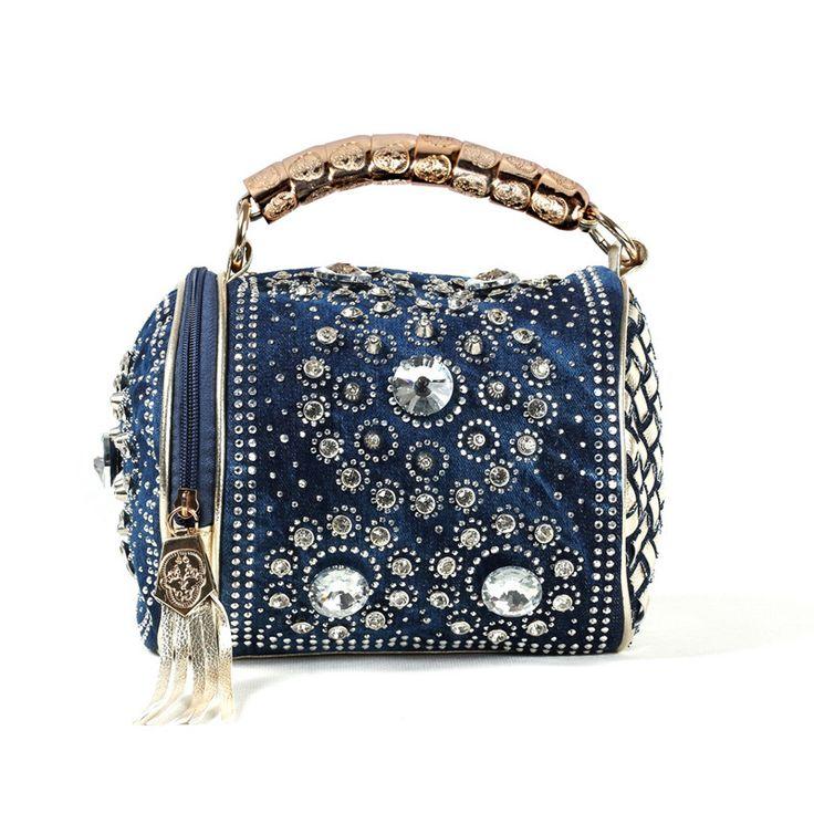 Pas cher Bleu toile sac 2015 nouvelle toile dame sac de mode cowboy clouté élégante main épaule petit sac seau, Acheter  Haut - poignée sacs de qualité directement des fournisseurs de Chine: