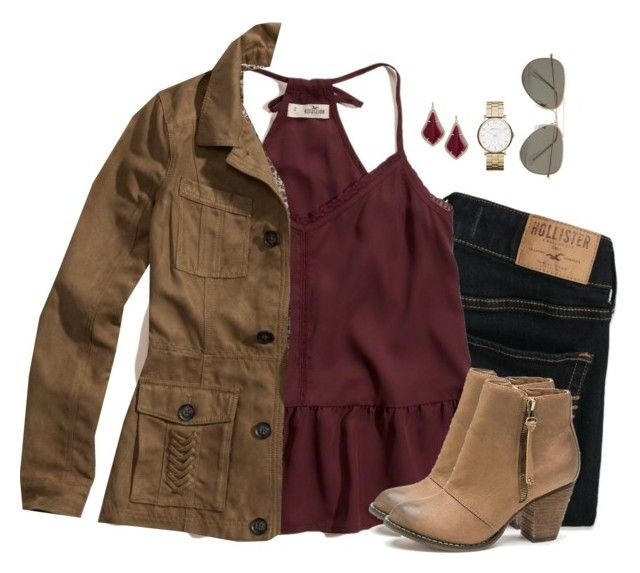 """""""Burgundy peplum cami, dark denim & camel jacket"""" by steffiestaffie ❤ liked on Polyvore featuring Hollister Co., London Rebel, Kendra Scott, Marc by Marc Jacobs and SELECTED"""