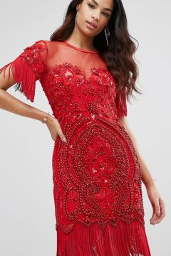 A Star Is Born Beaded Embellished Mini Dress With Tassel Hem - Red #modasto #giyim #moda https://modasto.com/a-star-is-born/kadin/br42036ct2