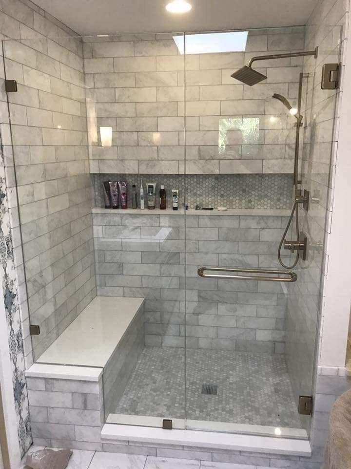 Carrara Subway Tile For Shower With Glass Door With Images