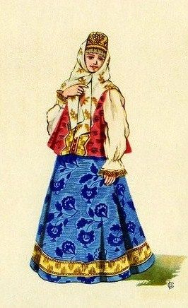Russian traditional costume of Tver Province, early 19th century. Illustration by V. Sorokin, 1957.