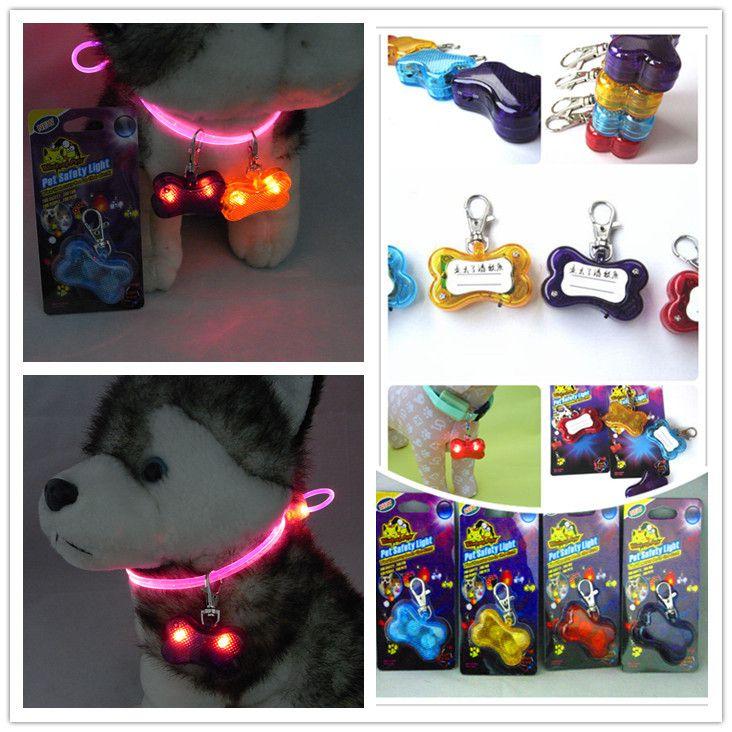 Acessorios Para Cachorro 30pcs/lot Led Shining Bone Dogs Tag Flashing Pet Collar Pendant Puppy Safety Night Light Plastic Tags  #Affiliate