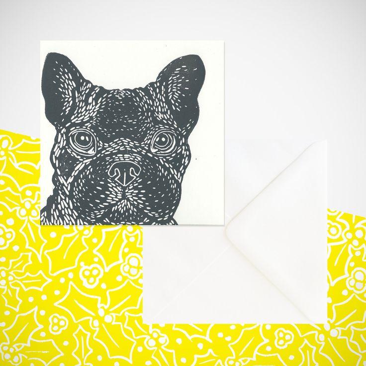 French Bulldog Dog Print! handprinted greetings card. Birthday. Any occasion…