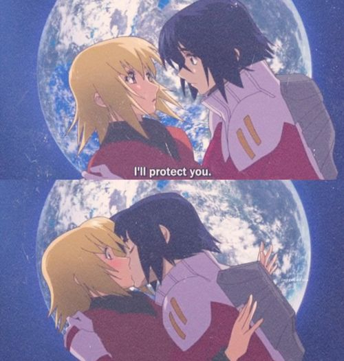 athrun and cagalli | ... my little brother die and the two athrun and cagalli share a kiss