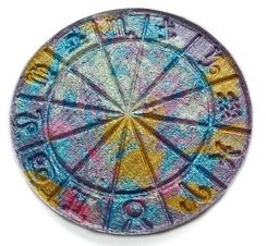 This beauty is a one of a kind wheel with all the zodiac signs it is the size of a large mac powder comes in pan only no compact. COLORS ARE BLUES ,GREY'S, PINK, RED ,GOLD ALL MIXED TOGETHER ....Can be used as a highlighter or eyeshadow very soft to touch and goes on silky..