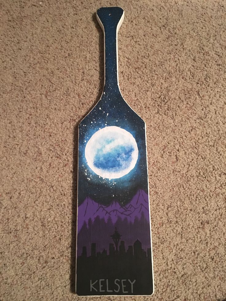 Sorority paddle- Seattle skyline, moon and stars. Unique paddles hand painted paddles. Nature paddles