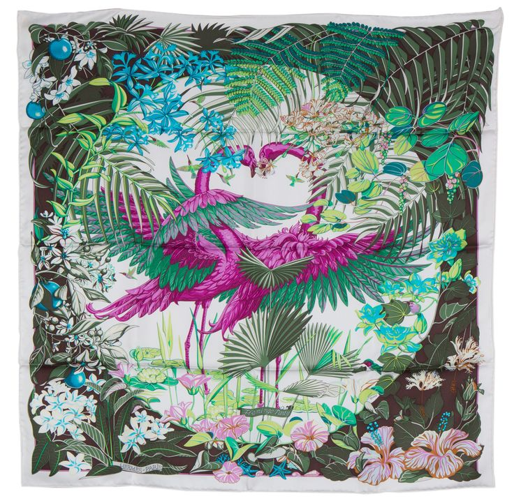 Cashmere Silk Scarf - Flamingos in Paris by VIDA VIDA M18aTDVs