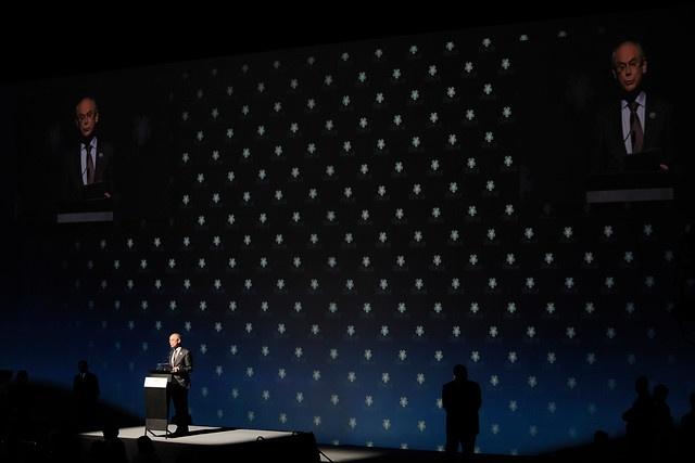 27 de ENERO DE 2013/ SANTIAGO, CHILE   Cumbre CELAC-UE, Ceremonia de Clausura. En la foto: El presidente del Consejo Europeo, Herman Van Rompuy.   FOTO: PABLO OVALLE/AGENCIA UNO/PRENSA CUMBRE