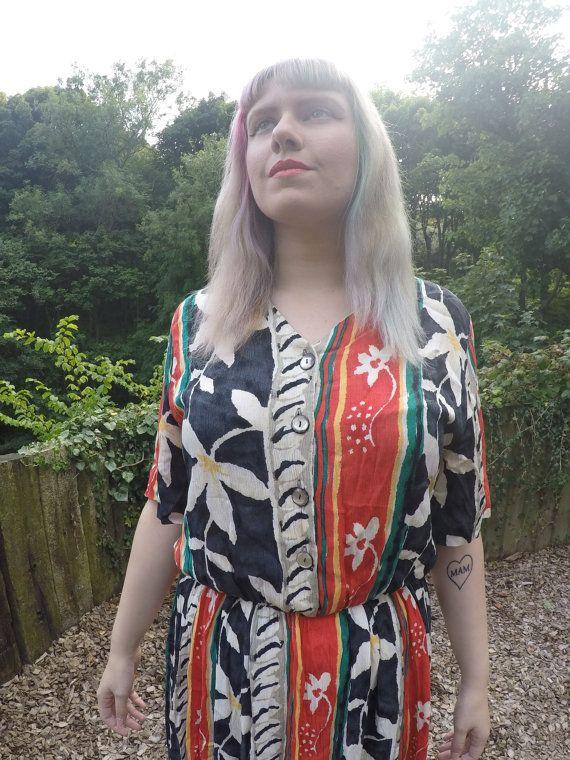 Hiddiously fabulous Vintage print dress size by TheHouseOfTrolls
