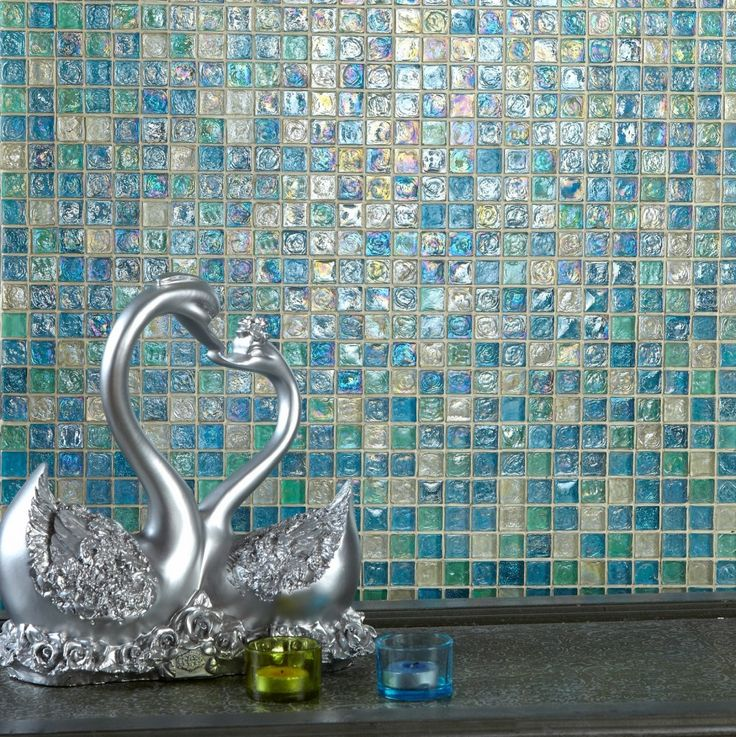 Hammered Aqua Blue Mix Glass Mosaic 23x23 Roomset My first choice