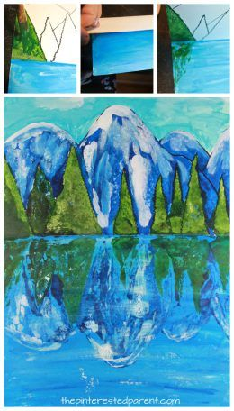 Try this step by step paint,fold & print reflection landscape. Winter mountain lake painting. A great art project for kids or adults. Arts and crafts.