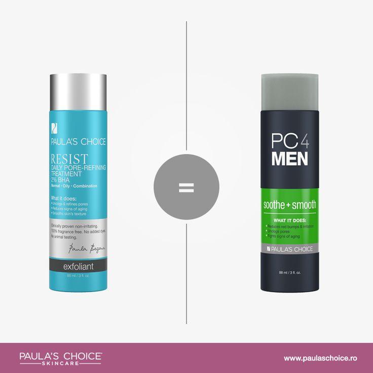 Care este diferența dintre PC4Men Soothe and Smooth și alte produse Paula's Choice?  PC4Men Soothe and Smooth are formulă identică cu Resist Daily Pore-Refining Treatment 2% BHA, având doar ambalajul și denumirea diferite. Am ales să folosim această formulă pentru bărbați datorită prezenței anti-iritanților și ingredientelor reparatoare care lucrează împreună pentru a calma pielea după barbierit. Acest produs are o textură extrem de lejeră, nu usucă și nu lasă nicio peliculă pe piele.