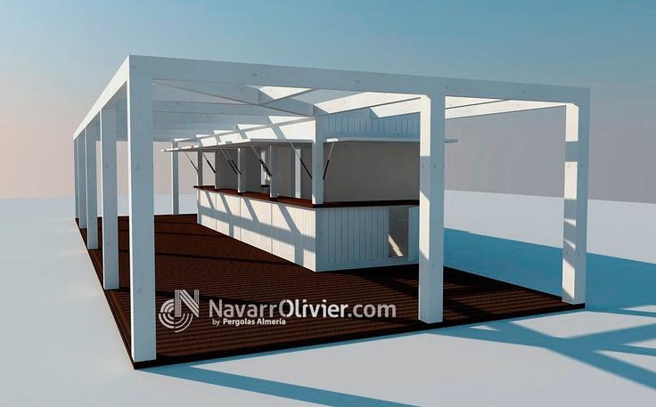 Proyecto de chiringuito desmontable con pérgola adosada en madera tratada para exterior. navarrolivier.com  #pergola #chiringuito #infografia #proyecto #3d #navarrolivier #playa #beachbar