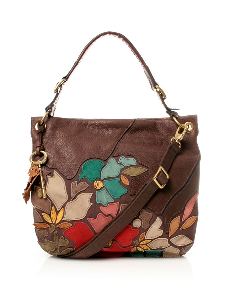 Fossil Floral Leather Hobo Handbag