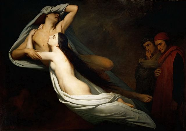"""Ary Scheffer """"The Shades of Francesco da Rimini & Paolo Malatesta Appear to Dante & Virgil"""" 1855 @Pureshutters Louvres (via Gandalf's Gallery @Tony Gebely Wang 9506608969 2009-04) • painter b. Dordrecht, 1795 Feb10, d. Argenteuil 1858 Jun15 ) French painter of Dutch/German extraction • strong ties with royal family caused him to fall out of favour in 1848's Second Republic"""