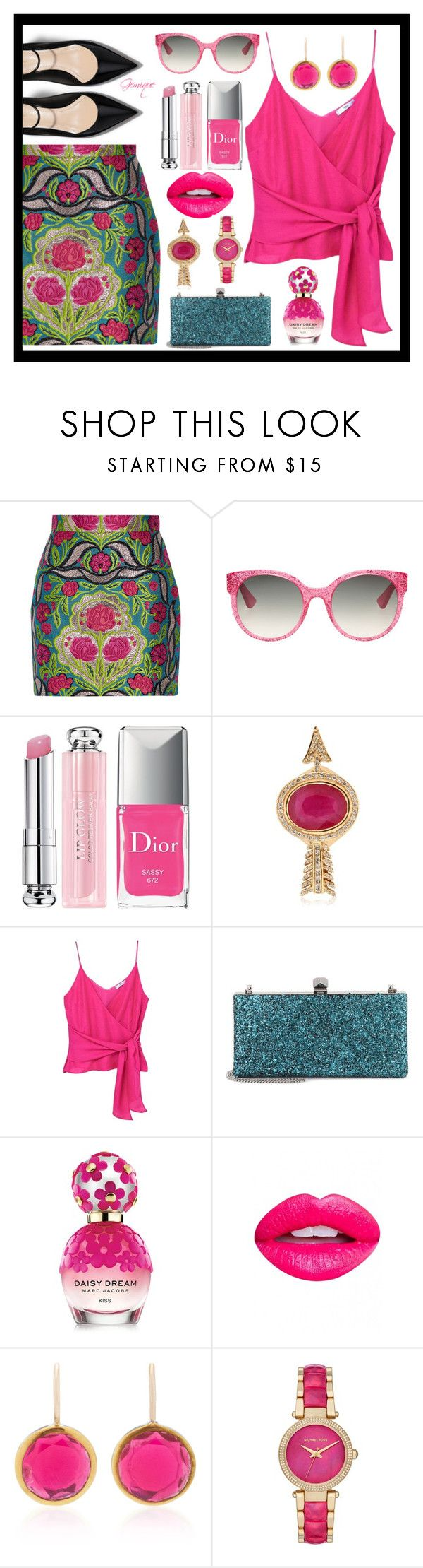 """""""Pink Roses"""" by gemique ❤ liked on Polyvore featuring Gucci, Christian Dior, Jade Jagger, MANGO, Jimmy Choo, Marc Jacobs, Nevermind, She Bee and Michael Kors"""