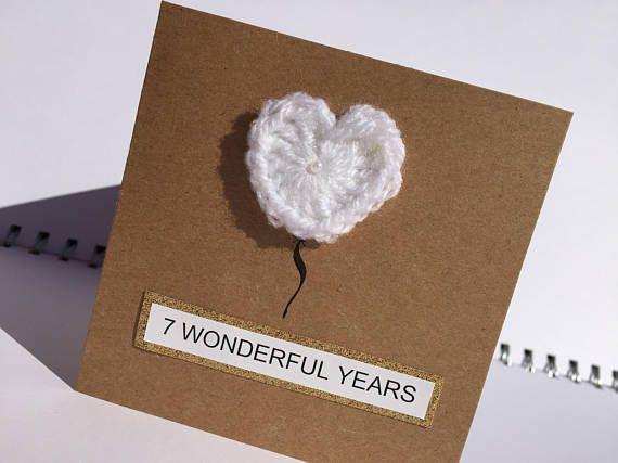 Wool Anniversary Card 7th Wedding Anniversary Anniversary Card Heart Anniversary Car 7th Wedding Anniversary Wedding Anniversary Cards 7 Year Anniversary