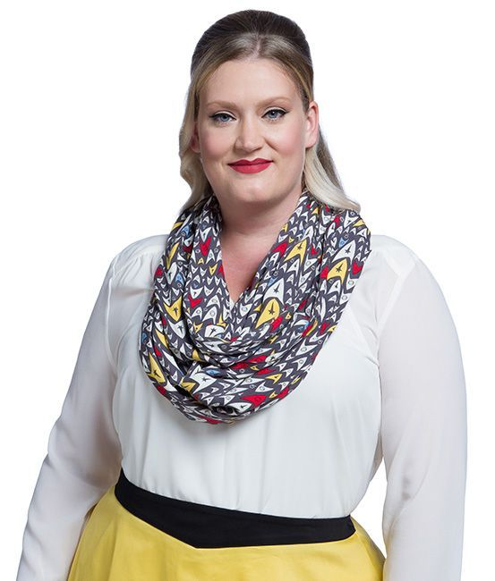 13 x 40 wide, this infinity scarf is ready to wrap around your neck and protect you from the Vulcan nerve pinch.