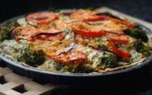 Deluxe Quiche with Pea, Courgette and Tomato