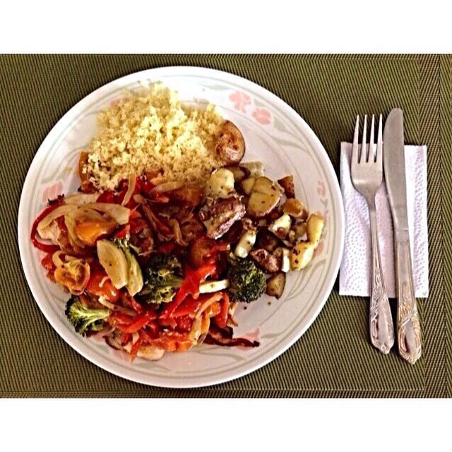 Couscous, grilled potatoes, and steamed vegetables.