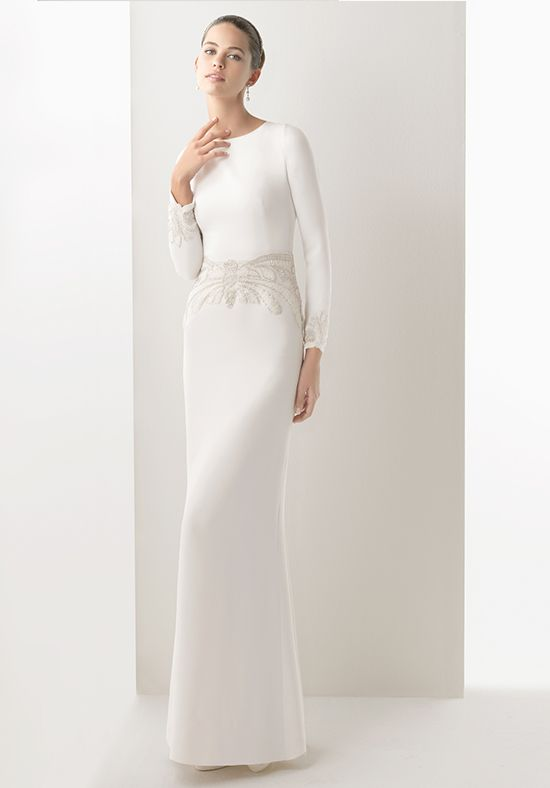 86 best bridal gown faves images on pinterest wedding for Sleek wedding dresses with sleeves