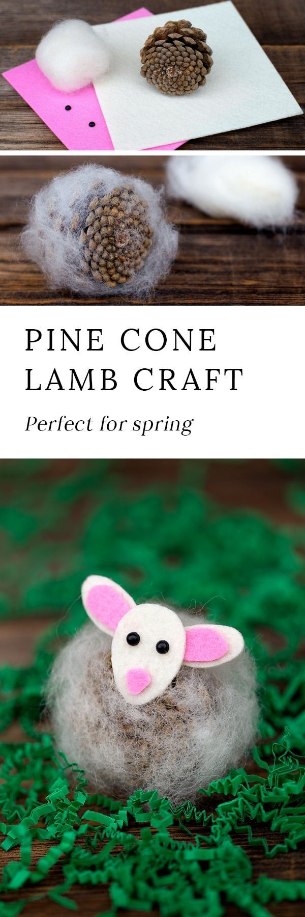 Pine Cone Lambs are a creative, easy, and fun spring nature craft for kids. Made with pine cones, wool, and kid-friendly craft supplies! #pineconecrafts #lambcraftsforkids #springcraftsforkids #springnaturecrafts via @https://www.pinterest.com/fireflymudpie/