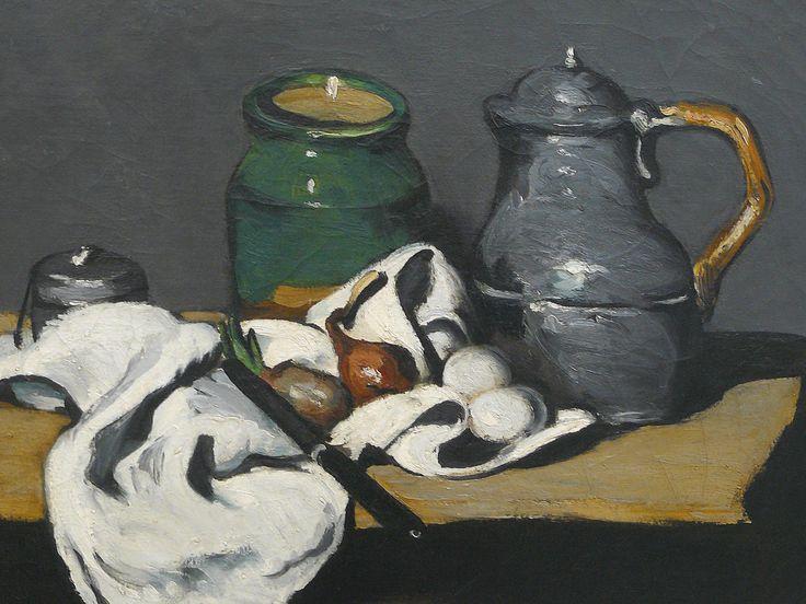 """CEZANNE,1867-69 - Pot vert et Bouilloire d'étain - Still Life with Green Jar and Pewter Kettle (Orsay) - Detail 1 - TAGS : details détail détails detalles painting paintings peinture peintures 19th 19e """"peinture 19e"""" """"19th-century paintings"""" paintings """"Still life"""" """"Nature morte"""" Orsay """"Nature morte"""" œufs eggs oignons onions nappe """"nappe blanche"""" """"white cloth"""" chiffon cloth gris grey Green Jar Pewter Kettle couteau knife vegetables vegetable légumes fruit fruits food pomme apple table"""