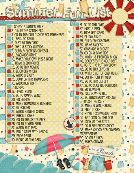 We loved this Summer Fun list from http://mycrazylifeasamomandawife.blogspot.com.