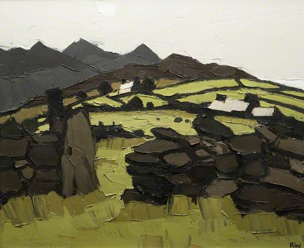 Kyffin Williams. Cottages, Cilgwyn.