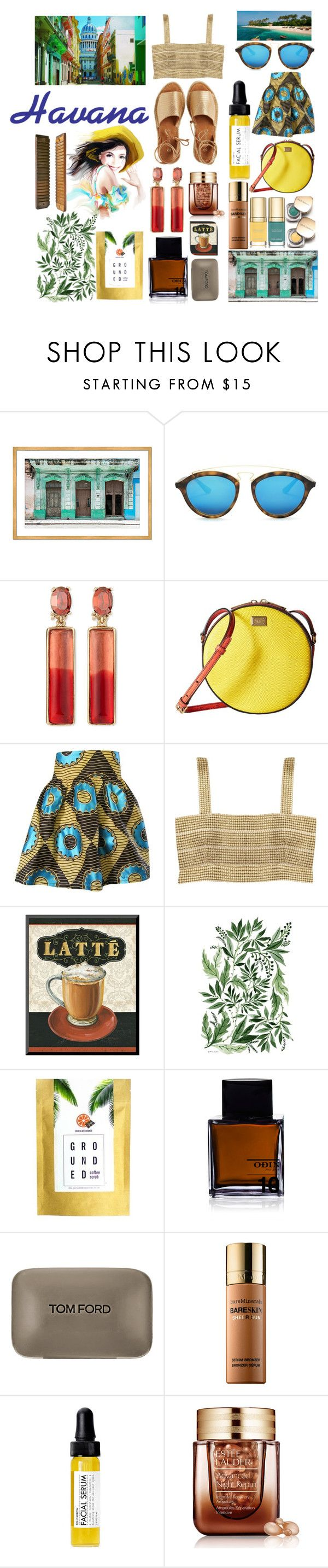 """Vista: Havana"" by chichihayari ❤ liked on Polyvore featuring Ray-Ban, Dolce&Gabbana, Oscar de la Renta, Aziina, Kaanas, Odin, Tom Ford, Bare Escentuals, Fig+Yarrow and Estée Lauder"