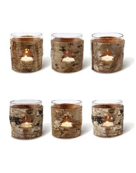 Birch Bark Tree Candleholder Set of 6