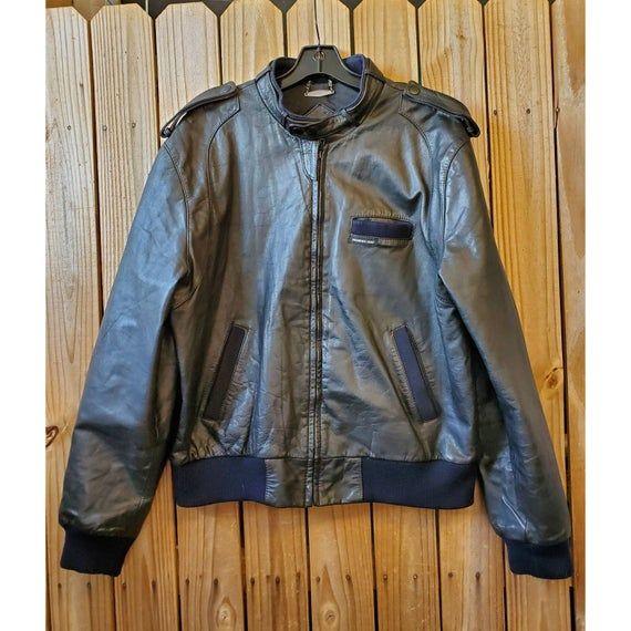 Vintage Black Leather Jacket Size 44